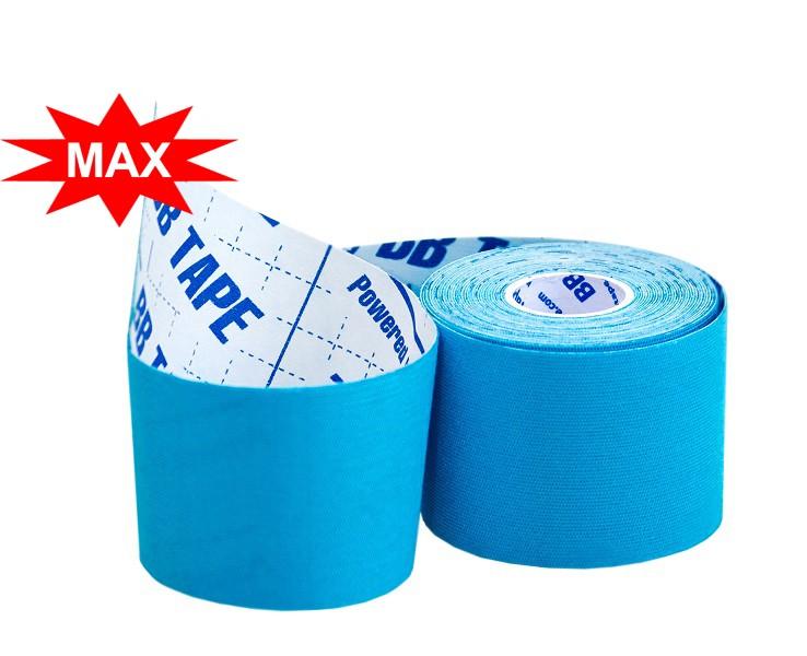 Кинезио тейп BBTape ICE MAX с усиленным клеем 5см × 5м / Искусственный шёлк (вискоза) / Голубой