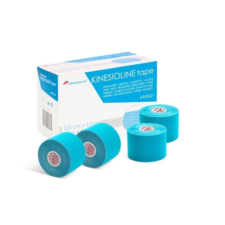 "Код 18034 Тейп KINESIOLINE ""Pharmacels""  5,0 см.х 5 м., голубой"