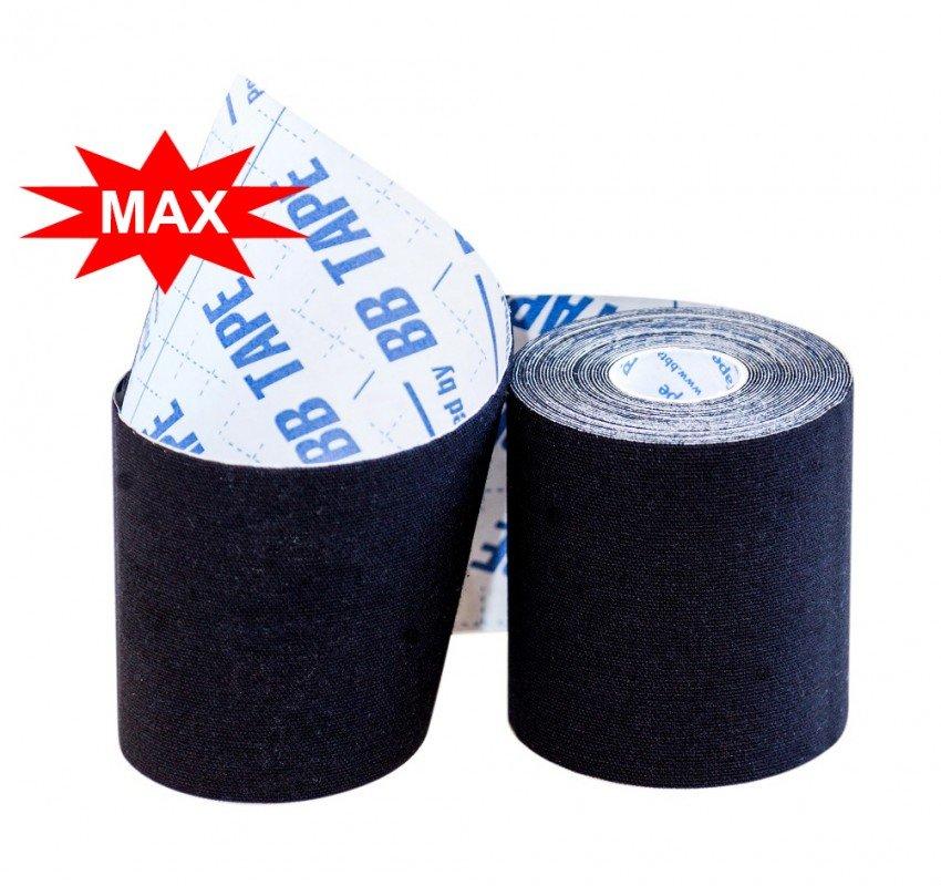 Кинезио тейп BBTape MAX с усиленным клеем 7,5см × 5м / Чёрный