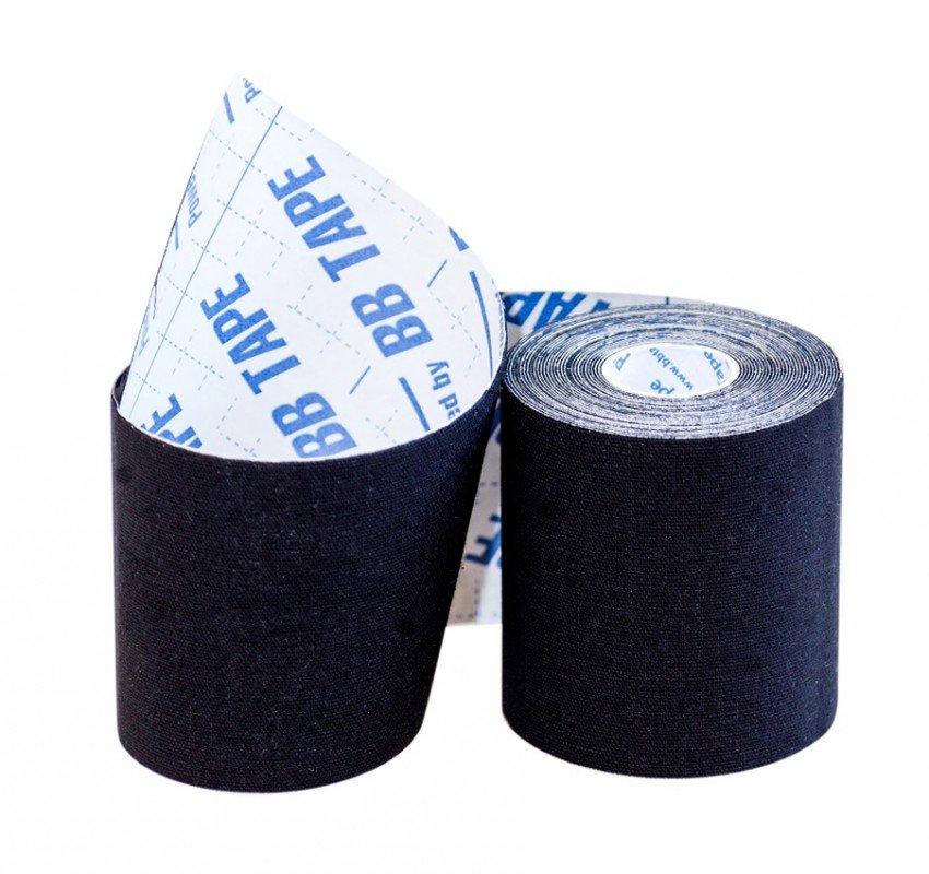 Кинезио тейп BBTape™ 7,5см × 5м / Чёрный