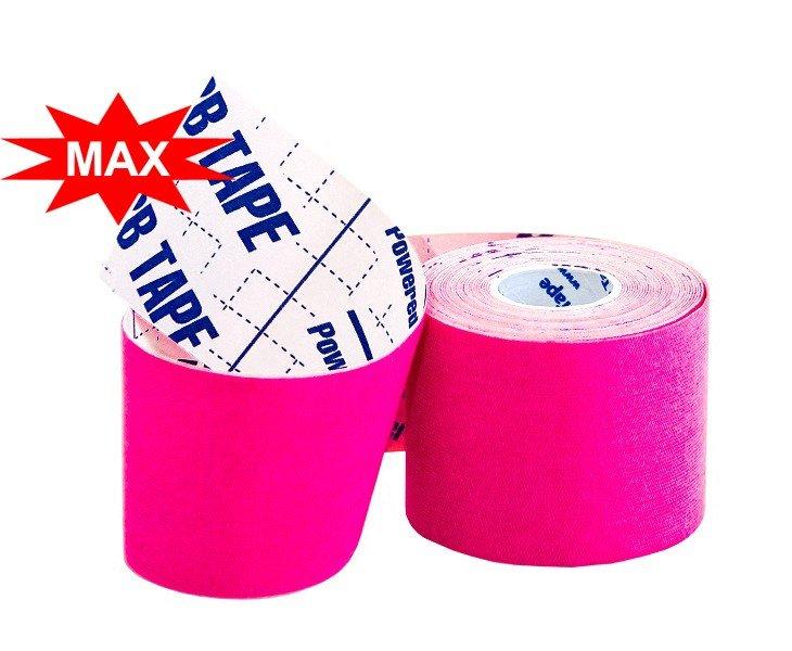 Кинезио тейп BBTape ICE MAX с усиленным клеем 5см × 5м / Искусственный шёлк (вискоза) / Розовый
