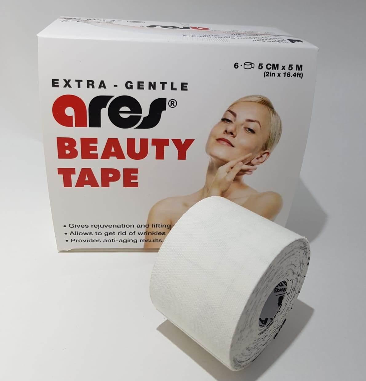 Для лица кинезио тейп Ares Beauty Tape / белый